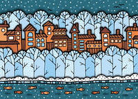 """Поштова листівка """"Зимове місто"""""""