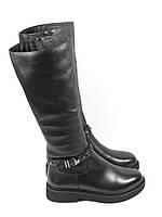 Женские зимние сапоги черные на низком каблуке
