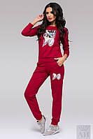 """Модный спортивный костюм """"WISH DO"""", цвет марсала. Арт-9517/17"""