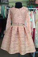 Детское платье нарядное праздничное цвета Пудра на 8-14 лет( 146 см, 152 см, 158 см, 164 см) Турция