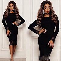 Платье Черный бархат Классика с кружевом, фото 1