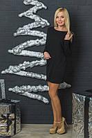 Трикотажное женское  платье-туника черное, фото 1