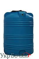 Емкость пластиковая для воды 350 литров, вертикальный бак синий