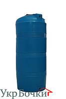 Емкость пластиковая для воды 320 литров, вертикальный бак синий