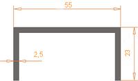 Алюминиевый П-образный профиль (Швеллер) 55*23*2.5 / AS