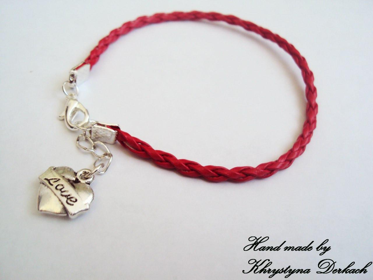 Браслет червона нитка серце love для закоханих різні кольори шнур мотузка оберіг