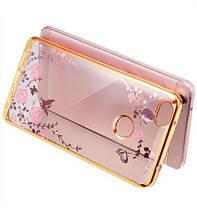 Чехол накладка силиконовый TPU Luxury Flower для Xiaomi Mi Max золотистый