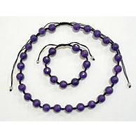 Набор бусы и браслет Шамбала фиолетовый