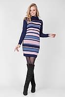 Полосатое теплое платье-туника