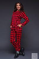 Модный красный трикотажный спортивный костюм в клеточку. Арт-9522/17