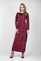 Длинное платье связанное в меланжевых модных цветах