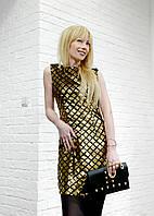 Женское платье черное золотистое Tenqs