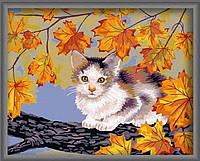 Картина по номерам без коробки Идейка Непослушный котенок (KHO021) 40 х 50 см