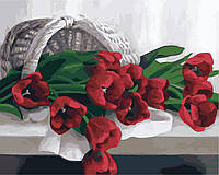 Картина раскраска по номерам без коробки Идейка Корзина с тюльпанами (KHO2064) 40 х 50 см