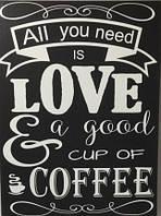 Картина раскраска по номерам без коробки Идейка All you need is coffee (KHO2035) 30 х 40 см