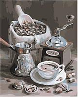 Картина раскраска по номерам без коробки Идейка Аромат кофе (KHO2047) 40 х 50 см (Без коробки)