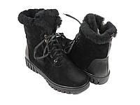 Женские зимние ботиночки на шнуровке черные