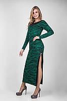 Оригинальное платье с разрезом бутылочно-черного цвета