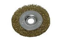 Щетка-крацовка 100 мм дисковая латунированная SPITCE.18-052