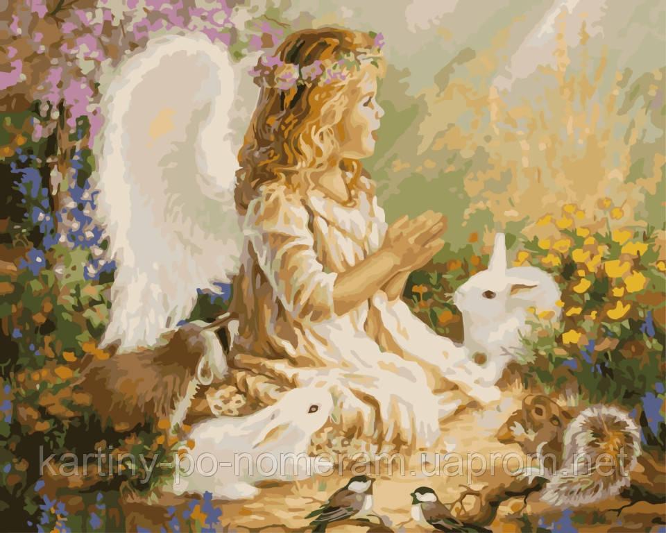 Картина по номерам KH2306 Ангелочек в лесу (40 х 50 см) Идейка