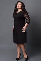 Нарядное Черное платье-миди с гипюром прямого силуэта.