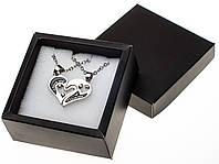 Парные кулоны Две половинки сердца на цепочке в подарочной упаковке