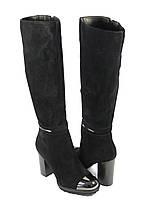 Замшевые женские сапоги на каблуке черные, фото 1