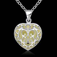 Подвеска на цепочке люминесцентная сердце покрытие 925 серебро