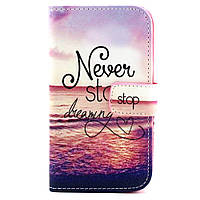 "Чехол Книжка Для Samsung Galaxy Core Prime G360/G361 Bruno ""Never stop dreaming"""
