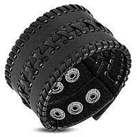 Широкий мужской браслет черного цвета на заклепках, фото 1