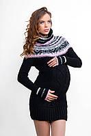 Теплый свитер-туника для беременных Черный с розовым