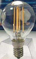 Лампа светодиодная филамент (Filament) G45 E14, 5 Вт. прозрачная