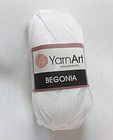 Пряжа Бегонія Begonia YarnArt 100% бавовна  білосніжна № 1000