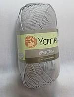 Пряжа Бегония Begonia YarnArt 100% хлопок сіра стальна №4920 Нитки для вязания хлопковые х/б