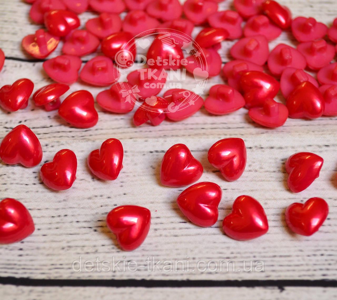 Пуговицы в форме сердечек, перламутровые, на ножке 12 мм