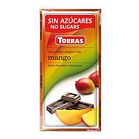 Черный шоколад Torras c манго без сахара 75 г