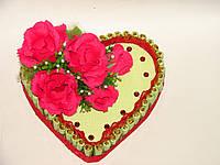 """Букет из конфет """"Сердце-торт с розами"""""""