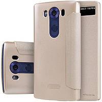 Чехол книжка для LG V10 H961S боковой с окошком Nillkin Sparkle Series, Золотистый