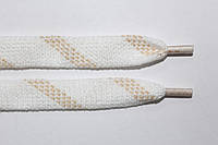 Шнурки плоские акрил (чехол) 15мм, белый+бежевый , фото 1