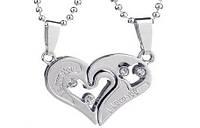 Парные кулоны две половинки сердца Silver Silver