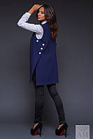 Стильная синяя  жилетка с пуговицами по бокам. Арт-9531/17