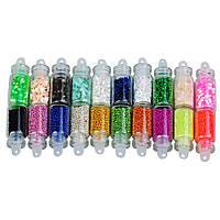Набор мини-бутылочек для декора ногтей (20 шт.), микс