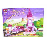 Детский конструктор Замок JIXIN 6288A, 81 деталь, 3 фигурки, розовый, поезд, звук, свет
