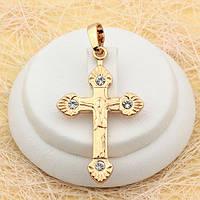 R4-0466 - Кулон-крест с распятьем и прозрачными фианитами позолота