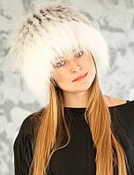 Вязаная женская шапка из песца Vp00023 Белый  Серый