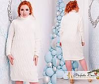 Женское платье-свитер однотонное с узором