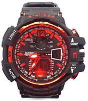 Часы наручные спортивные мужские наручные часы черно-красные