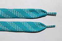 Шнурки плоские 15мм. мор.волна+белый, фото 1