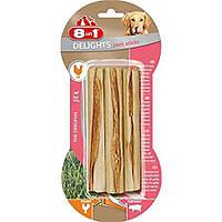 8in1 Europe Delights Pork Sticks Палочки для чистки зубов из свиной кожи с мясом курицы