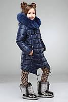 Модная детская курточка с песцовой опушкой
